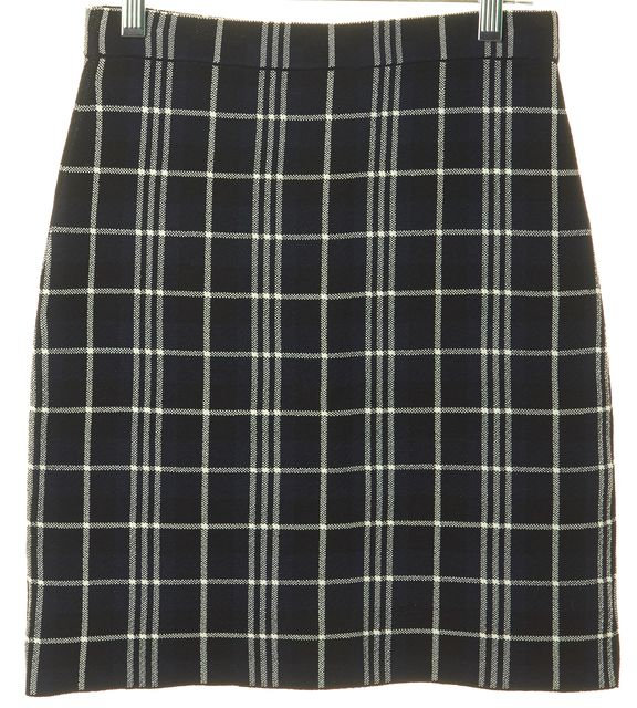 THEORY Black Navy White Plaid Teslianna B Stretch Knit Skirt