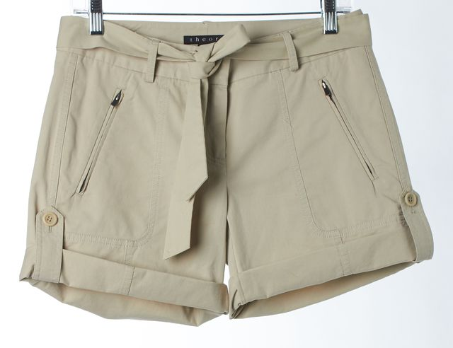 THEORY Beige Stretch Cotton Illidge Cuffed Casual Shorts