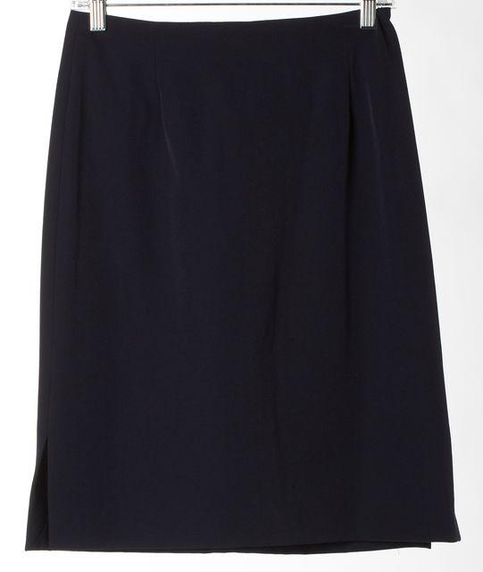 THEORY Navy Blue Stretch Knee-Length Straight Skirt