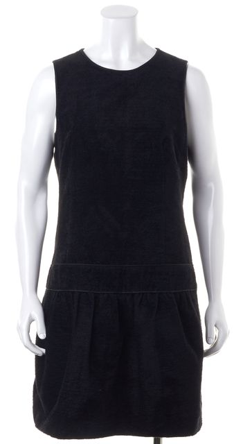 THEORY Black Velour Leather Trim Drop Waist Sleeveless Shift Dress