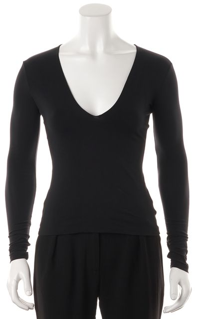 THEORY Black V-Neck Long Sleeve Basic T-Shirt