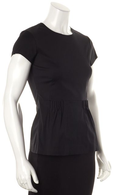 THEORY Black Carrian Cap Sleeve Pleated Blouse Top