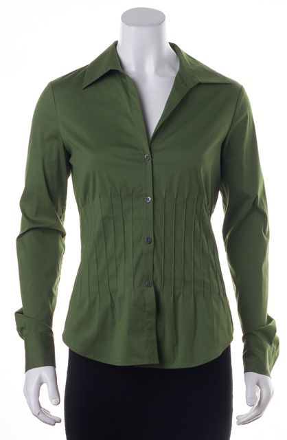 THEORY Green Valerie Button Down Blouse Top