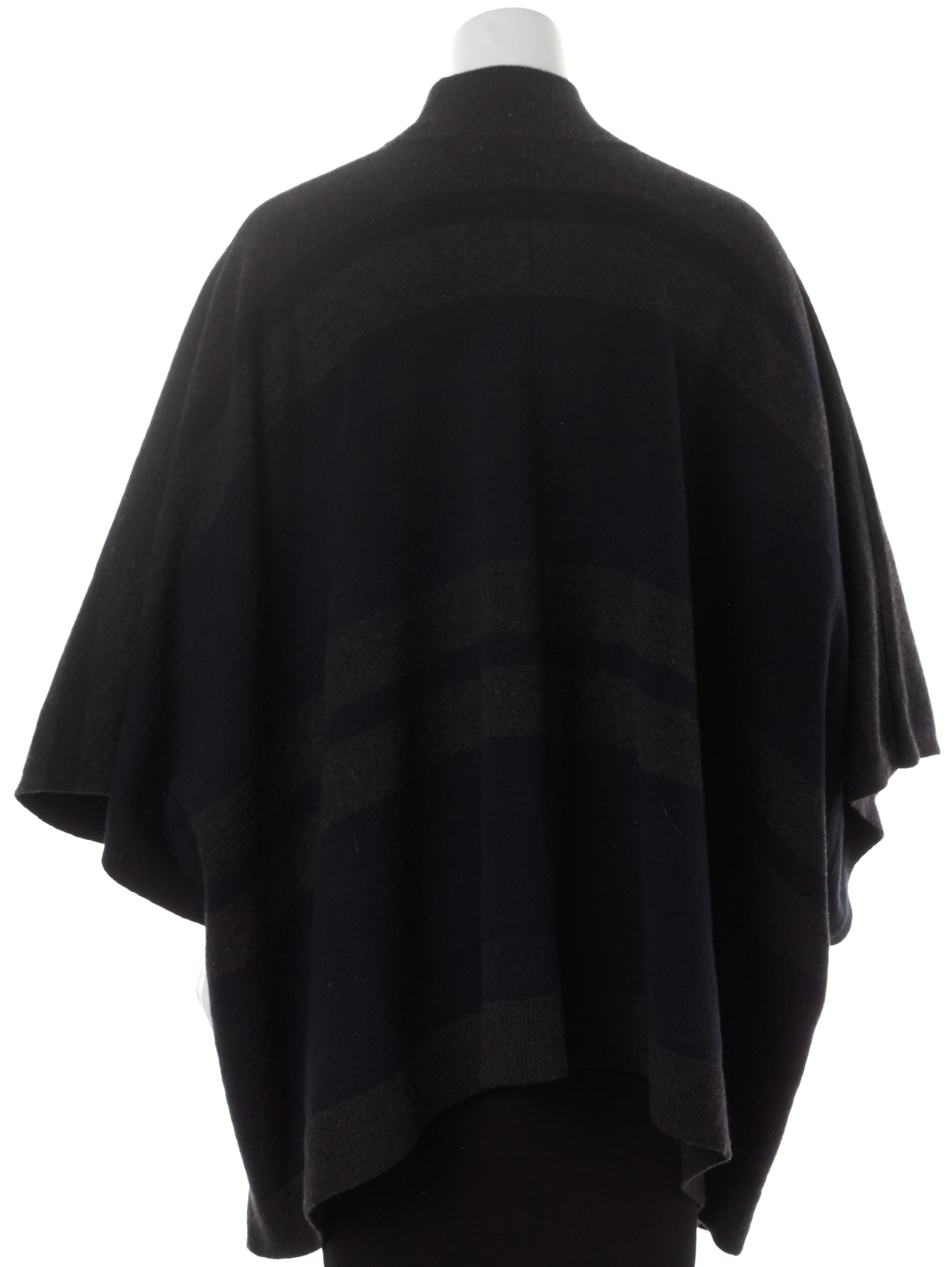Theory Charcoal Gray Navy Striped Wool Oversized Poncho Sweater ...