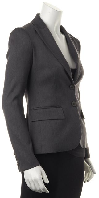 THEORY Charcoal Gray Two Button Wool Career Blazer