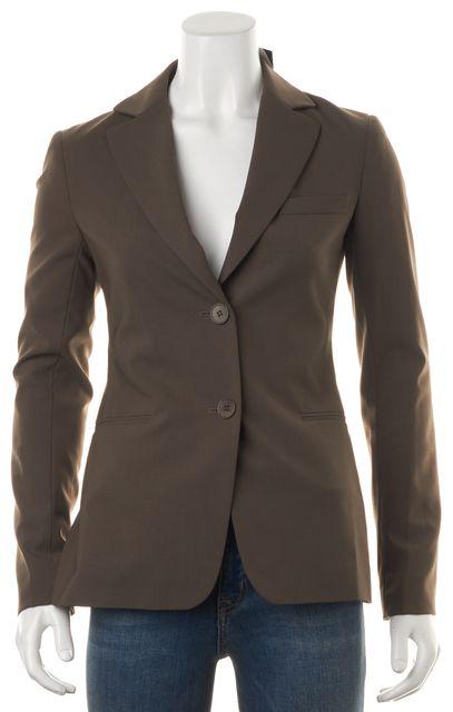 THEORY Brown Wool Notch Lapels Two Button Blazer