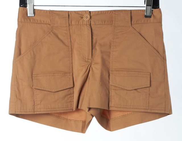 THEORY Khaki Brown Stretch Cotton Casual Short Shorts