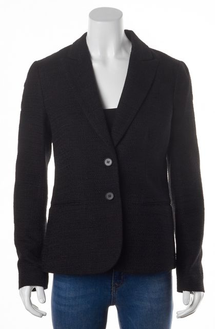 THEORY Black Boucle Nichelle Double Button Pocket Front Blazer