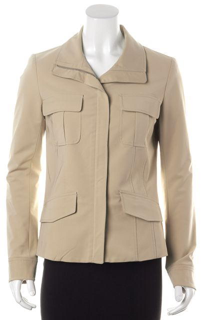 THEORY Beige Zip Front Light Weight Basic Jacket
