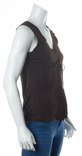 THEORY Brown Cotton Jersey Sleeveless V-Neck Tie Front Blouse Top