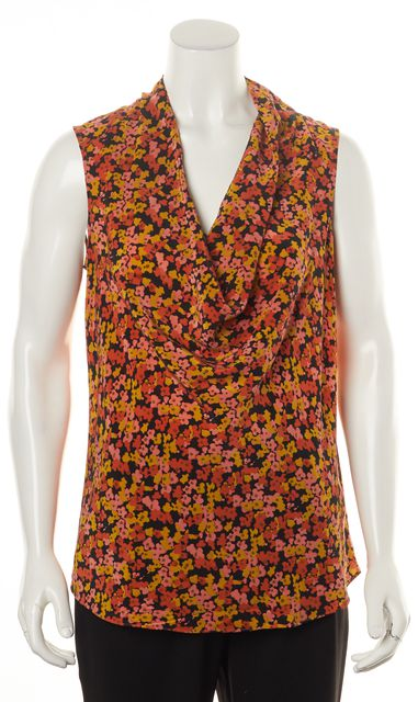 THEORY Orange Pink Yellow Green Floral Print Silk Sleeveless Blouse Top