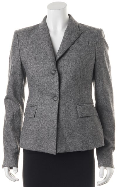 THEORY Heather Gray Virgin Wool Double Button Blazer