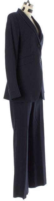 THEORY Navy Blue Pinstriped Wool Anorie Pleated Pant Suit Set