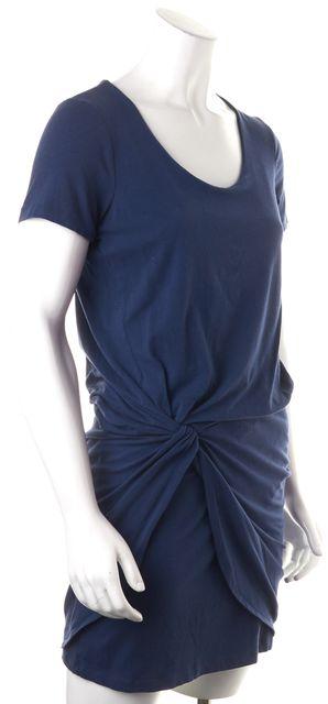 THEORY Blue Short Sleeve Cotton Blend Above Knee Layered Blouson Dress