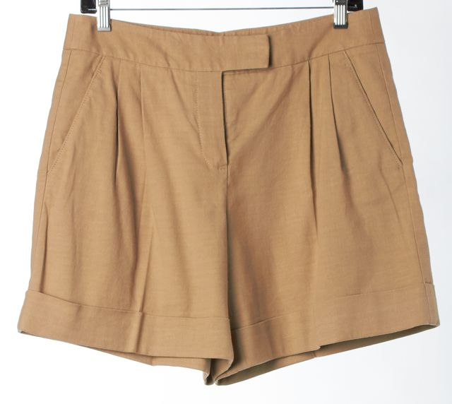 THEORY Khaki Beige Linen Sarai High Waisted Cuffed Casual Shorts