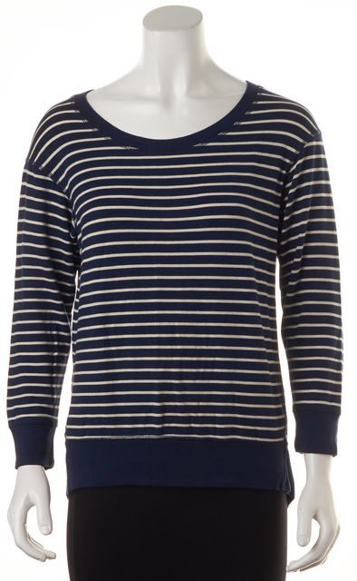 THEORY Navy Blue White Striped Modal Blisso Relaxed Knit Jersey Top