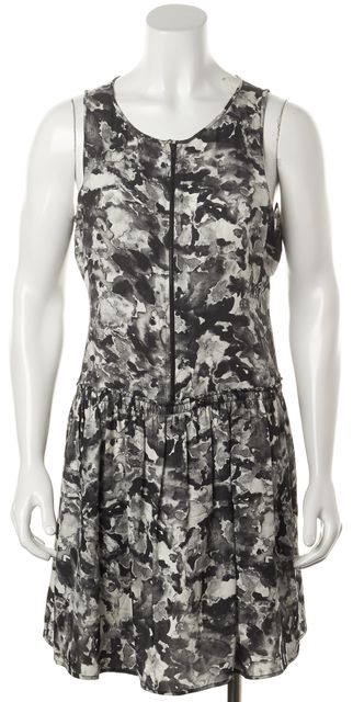 THEORY Gray Abstract Silk Achi Perplexing Zip Front Blouson Dress