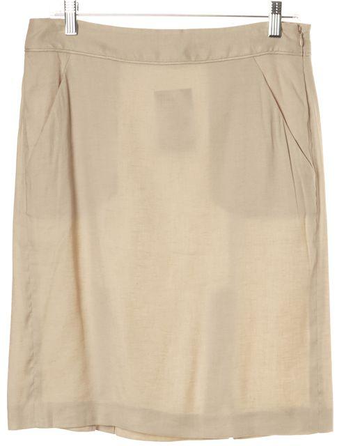 THEORY Beige Linen Urbanite Straight Career Skirt