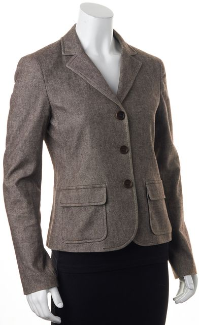 THEORY Brown Felted Cotton Suiting Three Button Patch Pockets Blazer