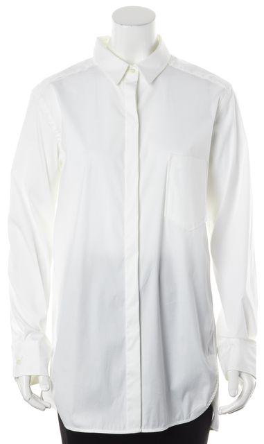 THEORY White Stretch Cotton Long Fedele Button Down Shirt Top
