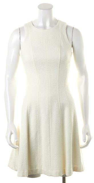 THEORY White Maydra Vizela Fit & Flare Sleeveless Knit Dress