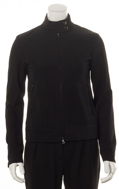 THEORY Black Zip-Front High Neck Basic Jacket
