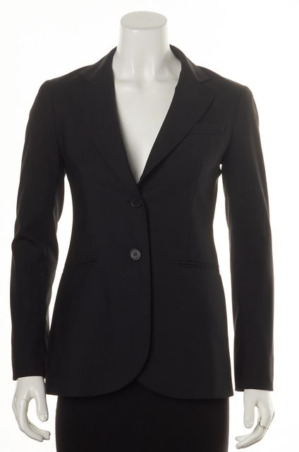 THEORY Black Wool Single Button Pocket Front Blazer