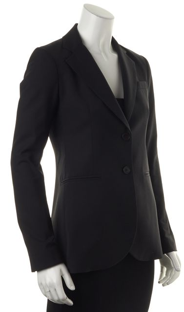 THEORY Black Wool Two Button Jetted Pocket Blazer