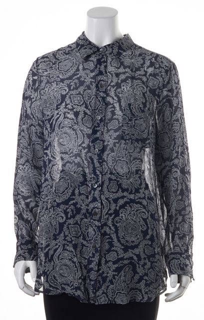 THEORY Navy White Paisley Silk Button Down Shirt