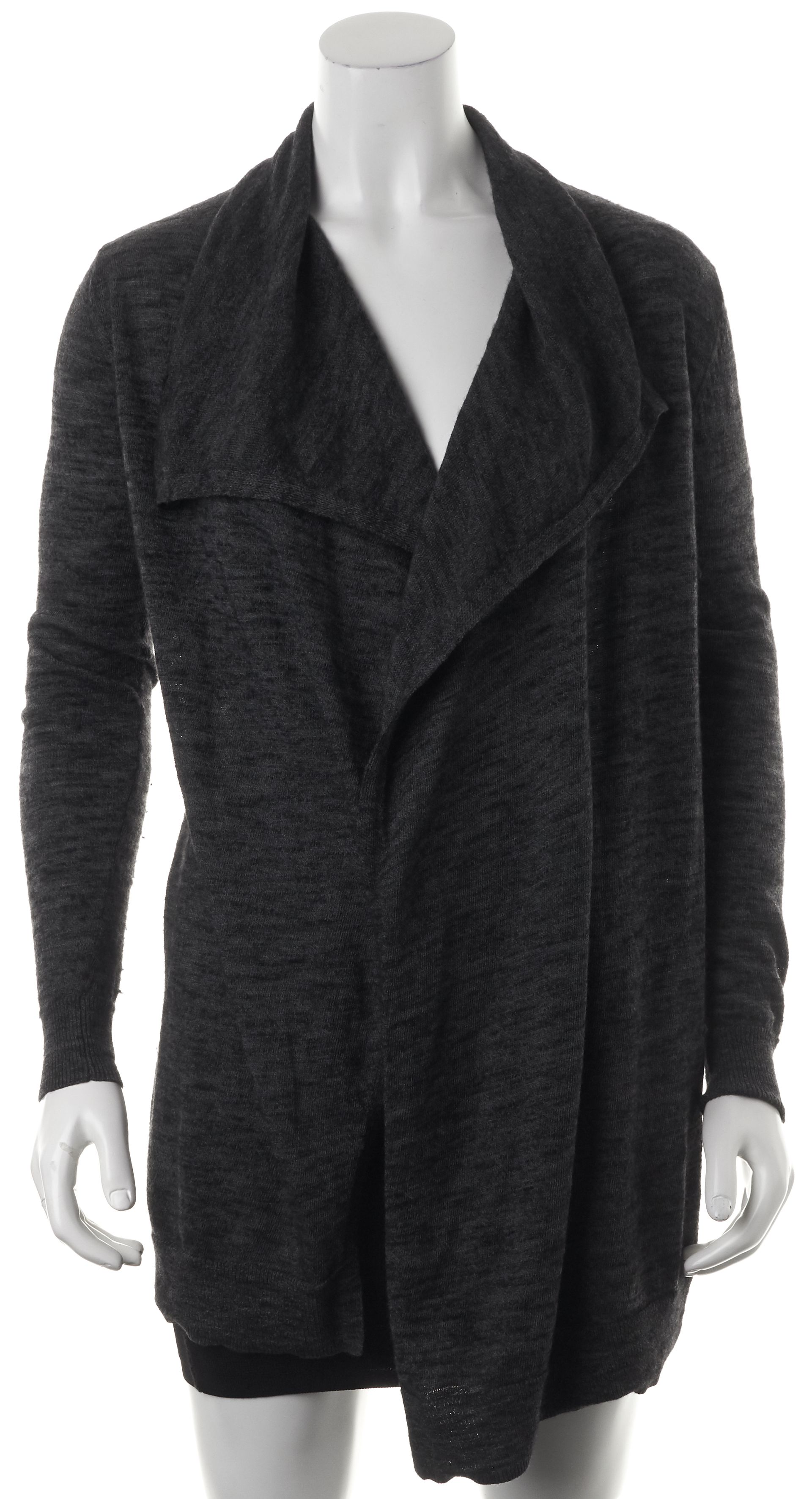 Theory Gray Black Marled Knit Wool Draped Long Open Cardigan ...