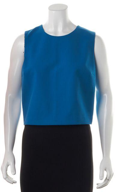THEORY Blue Wool Yuranda F Sleeveless Cropped Blouse Top