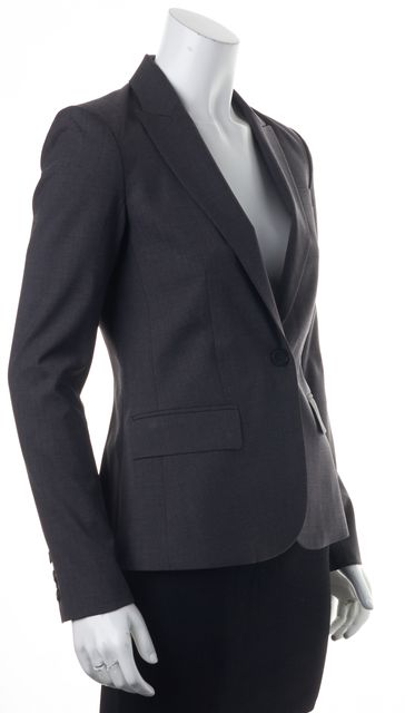 THEORY Gray Tailor Wool One Button Gabe B Blazer