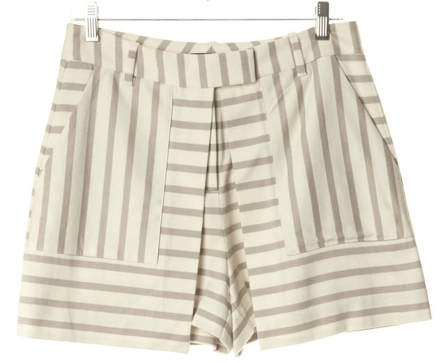 THEORY Ivory Warm Pebble Striped Nyos Cotton Caslyn Skorts Shorts