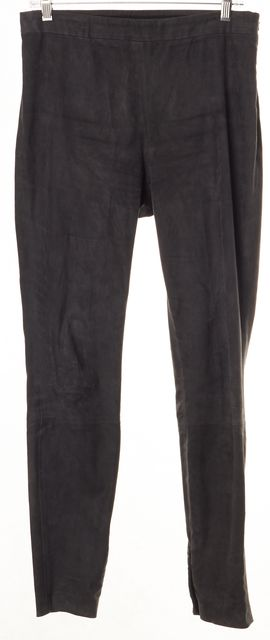 THEORY Dark Gray Leather Suede Leggings
