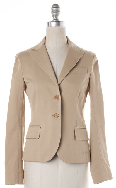 THEORY Light Beige Two Button Fitted Career Blazer