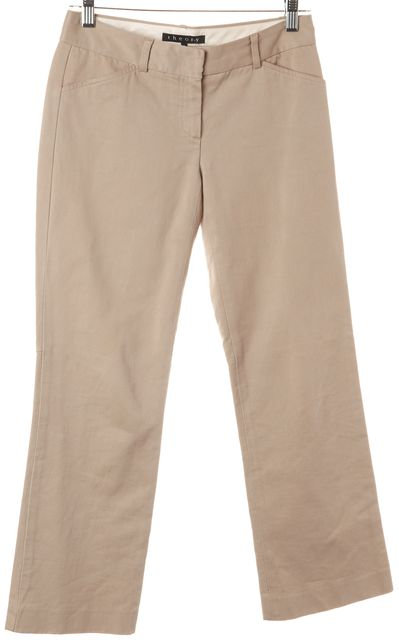 THEORY Beige Cotton Slim Leg Khakis Pants