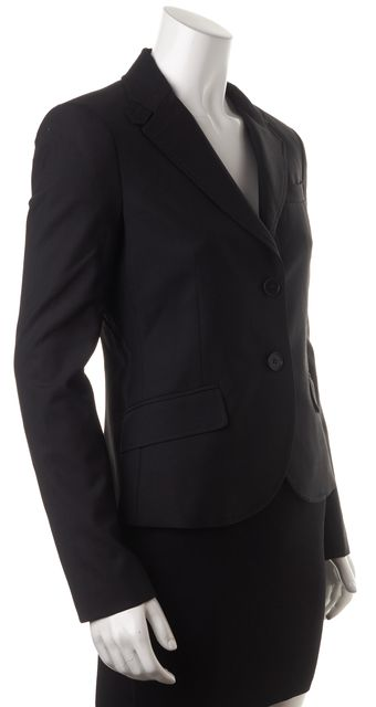 THEORY Black Wool Two Button Flap Pockets Blazer
