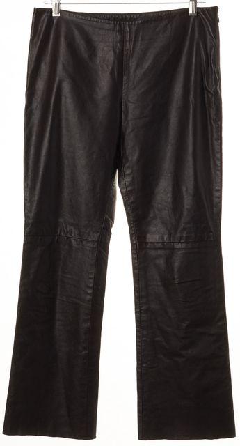 THEORY Brown Leather Slim Leg Side Zip Trouser Pants