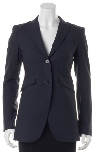 THEORY Navy Blue Wool Peak Lapel Two Button Blazer