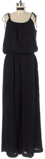 THEORY Black Silk Spaghetti Strap Wide Leg Larinta Jumpsuit