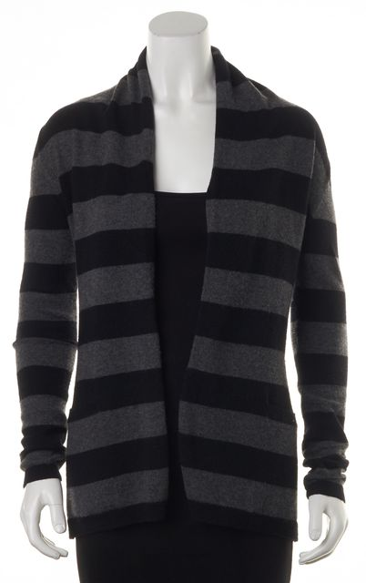 THEORY Black Gray Striped Open Front Cashmere Cardigan