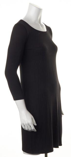 THEORY Black Stretch Long Sleeve Viscose Blend Dress