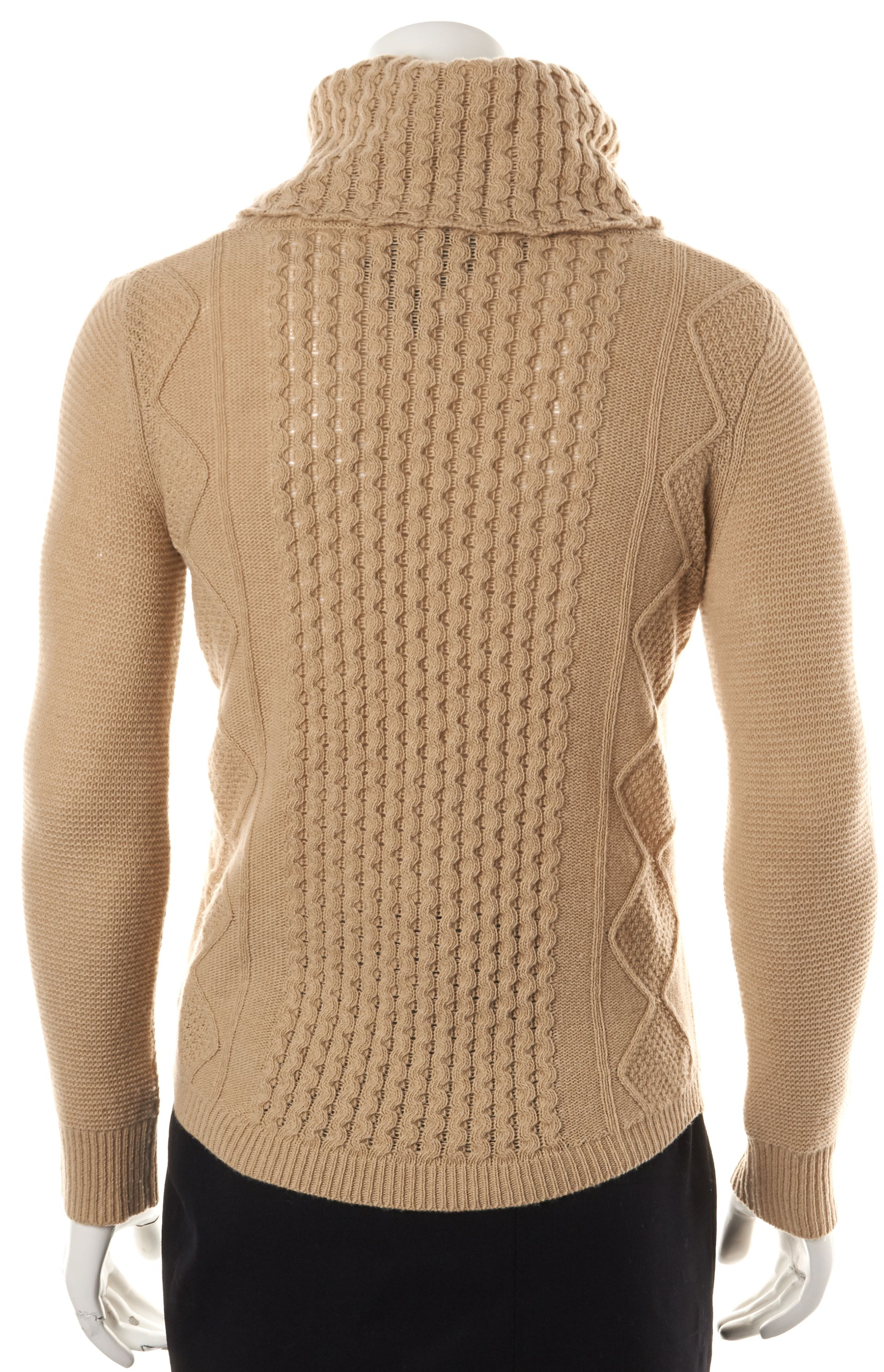 Theory Beige Wool Cable Knit Turtleneck Sweater | Material World