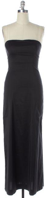 THEORY Black Strapless Full Length Sheath Dress
