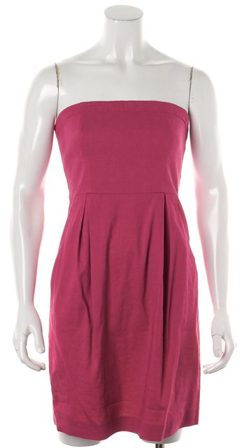THEORY Pink Cotton Strapless Pocket Front Sheath Dress