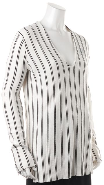 THEORY White Black Striped Haydren Prosecco V-Neck Sweater Top