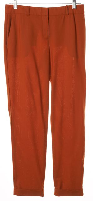 THEORY Orange Wool Tapered Leg Cuffed Hem Testra 2C Trousers Pants