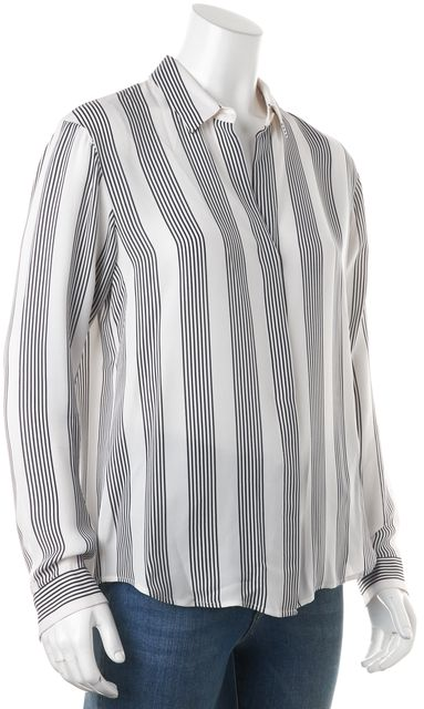 THEORY White Black Striped Silk Button Down Shirt