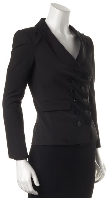 THEORY Black Pocket Front Double Breasted Button Up Blazer