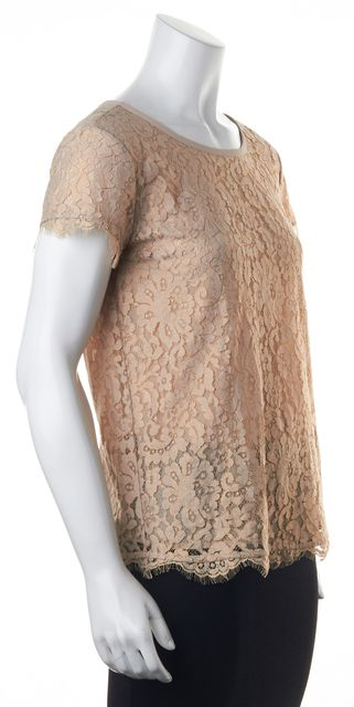 THEORY Beige Lace Blouse Top